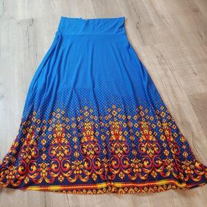 Lularoe blue fire dipped maxi skirt XL